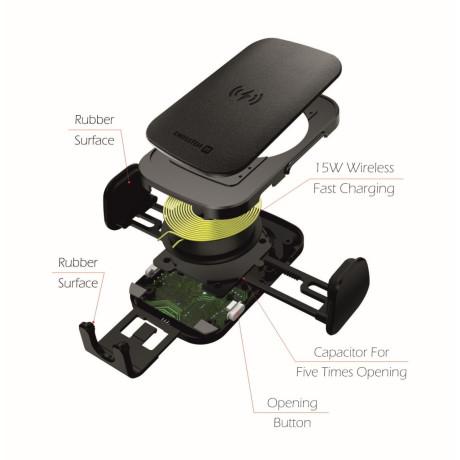 Kit Suport Auto+Incarcator Wireless Swissten S-GRIP W2-HK3 15W Negru