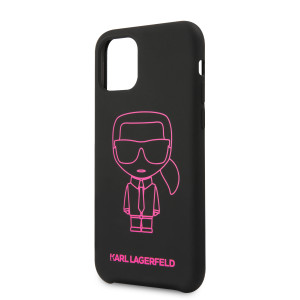 Husa Cover Karl Lagerfeld Silicone Pink Out pentru iPhone 11 Pro Max Negru
