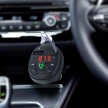 Modulator FM Bluetooth  Borofone BC26 + Incarcator Auto 2xUSB Negru