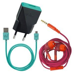 Pachet Incarcator Retea Wiko+ Cablu Date Micro Usb+ Casti cu Fir