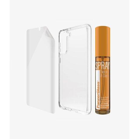 Set Folie+Husa Silicon Slim Panzer pentru Samsung Galaxy S21 Plus Transparent