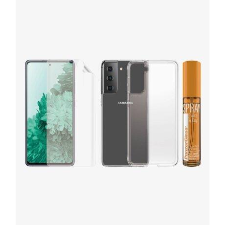 Set Folie+Husa Silicon Slim Panzer pentru Samsung Galaxy S21 Ultra Transparent