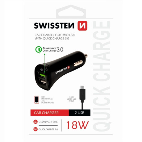 Set Incarcator Auto Swissten 2xUSB QC 3.0+Cablu Date Micro Usb 1.5m Negru
