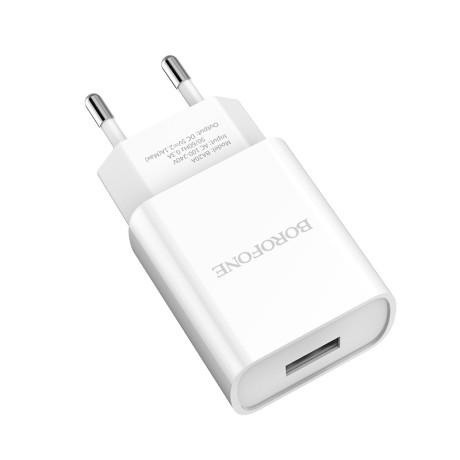 Set Incarcator Retea 1xUSB Borofone BA20A + Cablu Date Lightning 1m Alb