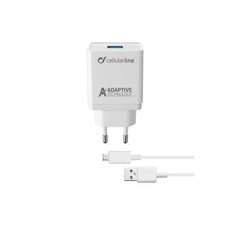 Set Incarcator Retea Cellularline QC 3.0 15W+Cablu Date Micro Usb 1m Alb