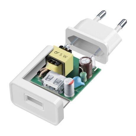 Set Incarcator Retea Cellularline 5W+Cablu Date Micro Usb 1m Alb