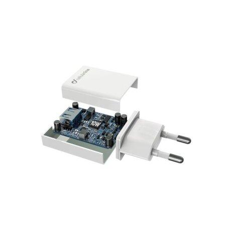 Set Incarcator Retea Cellularline QC 3.0 10W+Cablu Date Micro Usb 1m Alb