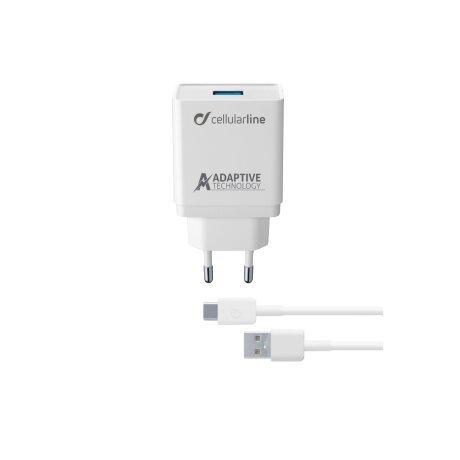 Set Incarcator Retea Cellularline QC 3.0 15W+Cablu Date Type C  1m Alb
