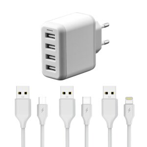 Set Incarcator Retea Fonex 4xUsb 24W + Cablu Date Micro Usb/Type C/Lightning 1m Allb