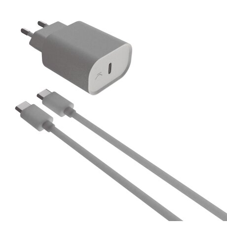 Set Incarcator Retea Ksix 18W + Cablu Date Usb C la USB C Alb