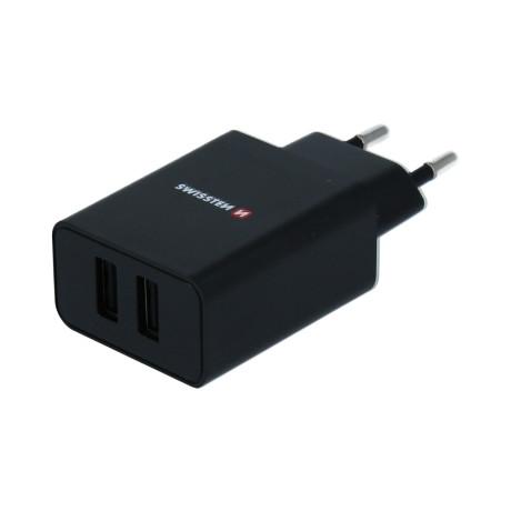 Set Incarcator Retea Swissten Smart IC 2xUSB 2.1A+Cablu Date Lightning 1.2m Negru