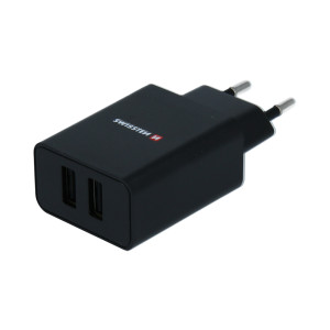 Set Incarcator Retea Swissten Smart IC 2xUSB 2.1A+Cablu Date Micro Usb 1.2m Negru