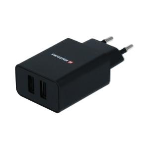 Set Incarcator Retea Swissten Smart IC 2xUSB 2.1A+Cablu Date Type C 1.2m Negru