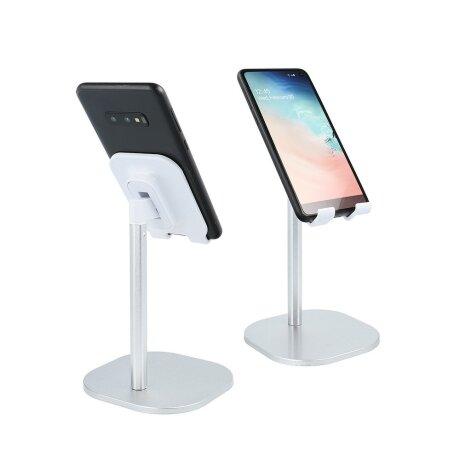 Stand Birou cu Suport Telefon Argintiu