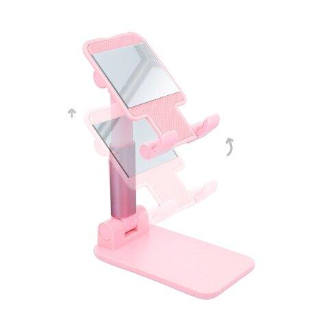 Stand Birou pentru Telefon cu Oglinda Roz